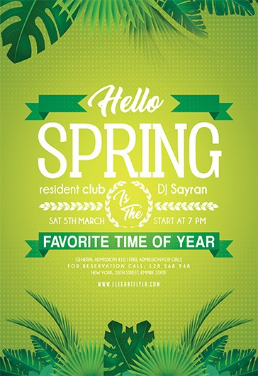 Hello Spring – Flyer PSD Template + Facebook Cover