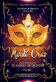 Mardi Gras 2017 – Flyer PSD Template + Facebook Cover