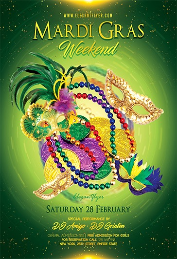 Mardi Gras Weekend – Flyer PSD Template