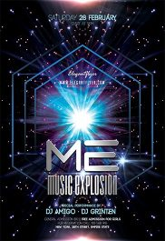 Music Explosion – Flyer PSD Template + Facebook Cover