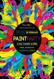 Paint Party V03 – Flyer PSD Template + Facebook Cover