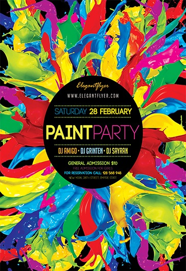 Paint Party V02 – Flyer PSD Template