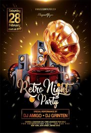 Retro Night Party – Flyer PSD Template + Facebook Cover