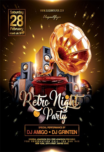 Retro Night Party – Flyer Psd Template + Facebook Cover – By