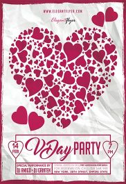 VDay Party V02 – Free Flyer PSD Template + Facebook Cover