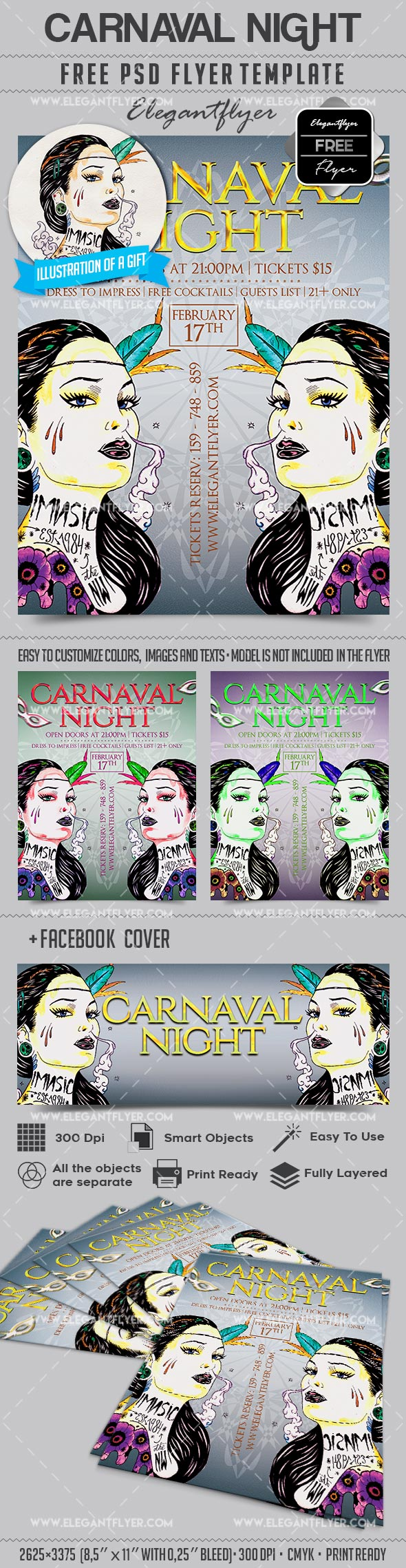 Carnaval Night – Flyer PSD Template