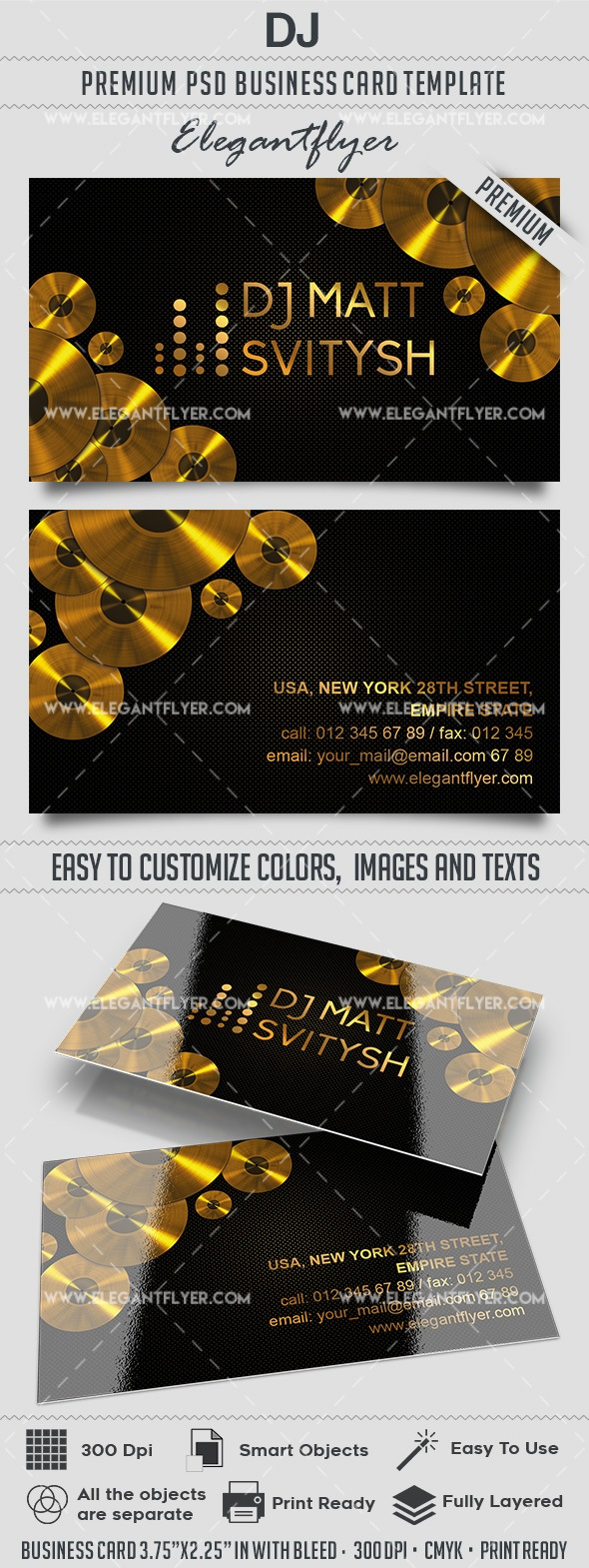 DJ – Premium Business card PSD Template