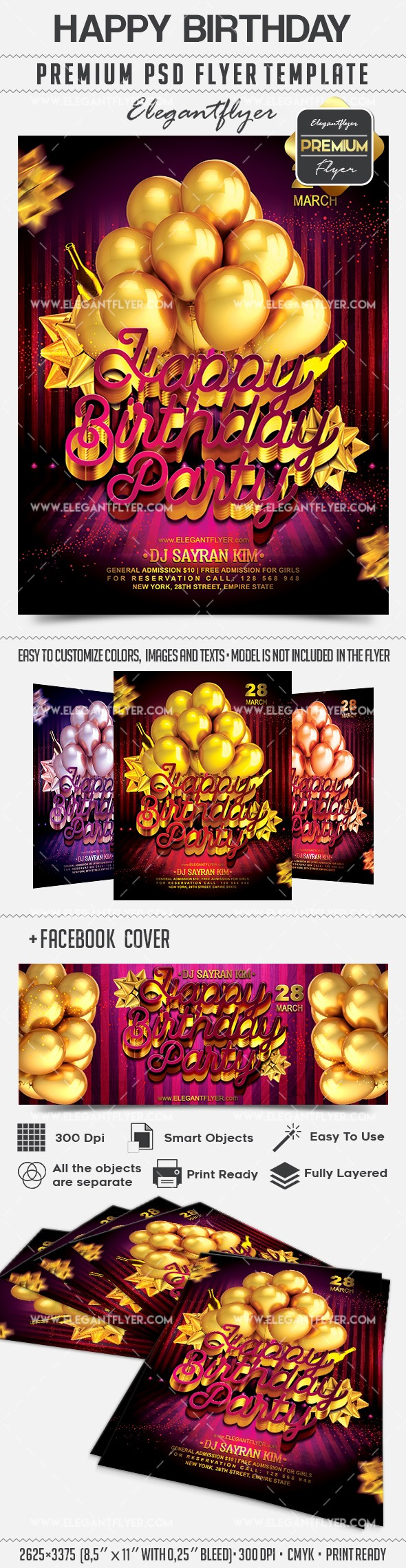 Happy Birthday – Flyer PSD Template