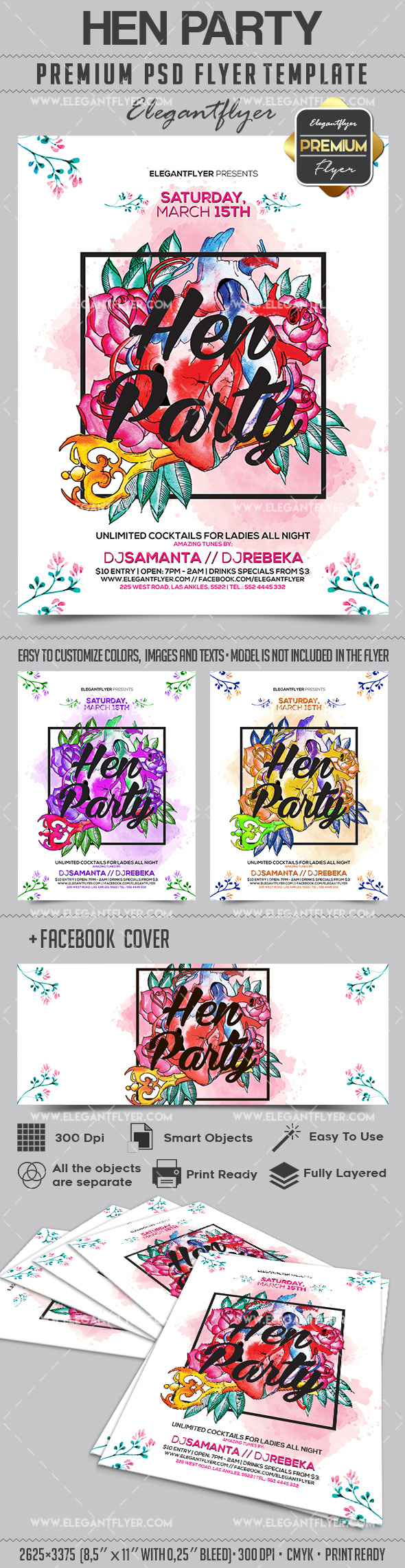 Hen Party – Flyer PSD Template + Facebook Cover