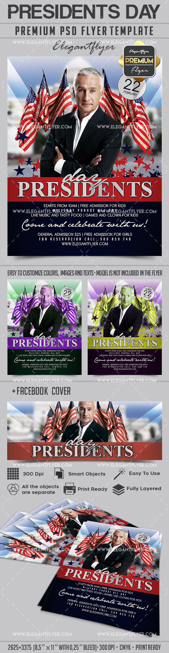 Presidents Day – Flyer PSD Template + Facebook Cover