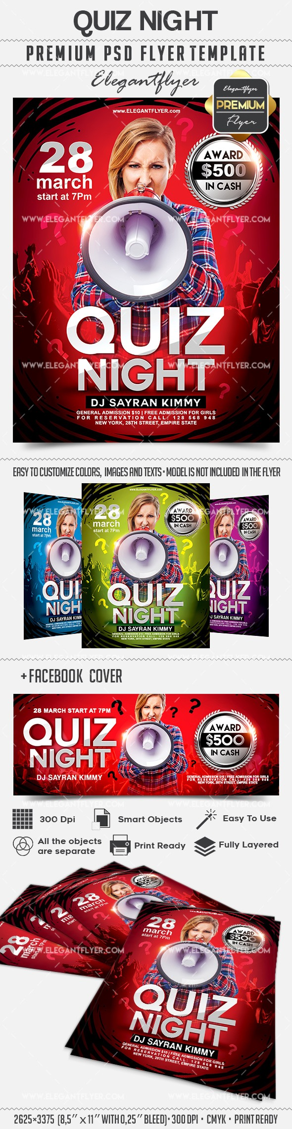 Quiz Night – Flyer PSD Template + Facebook Cover
