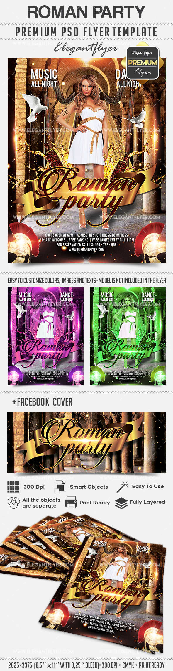 Roman Party – Flyer PSD Template + Facebook Cover