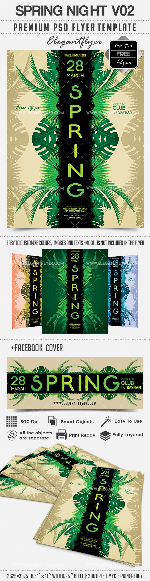 Spring Night V02 – Free Flyer PSD Template + Facebook Cover