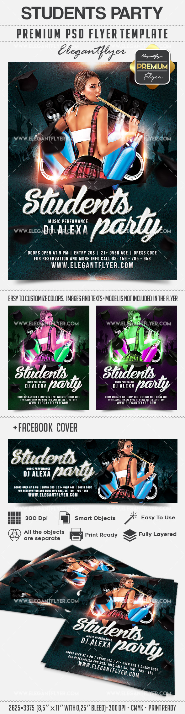 Students Party – Flyer PSD Template + Facebook Cover