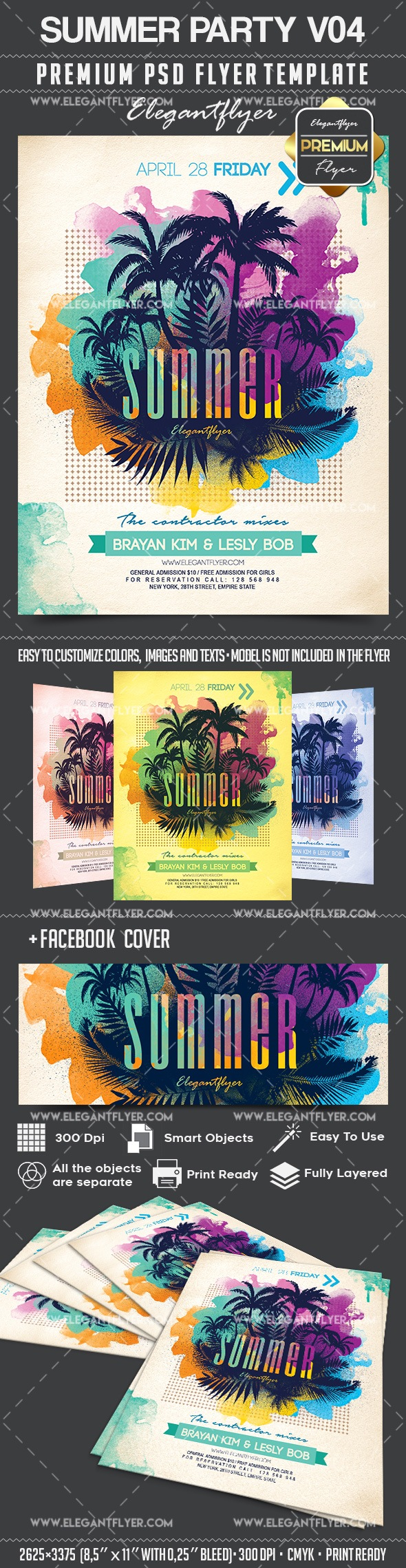 Summer Party V04 – Flyer PSD Template