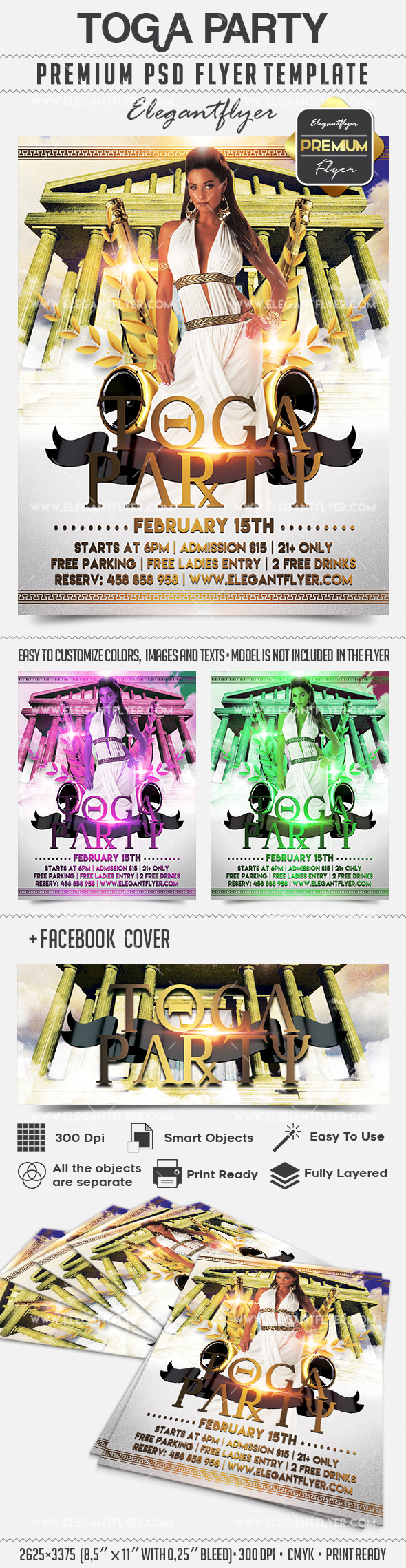 Toga Party – Flyer PSD Template + Facebook Cover