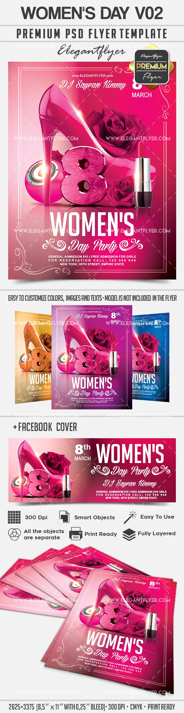 Women's Day V02 – Flyer PSD Template + Facebook Cover