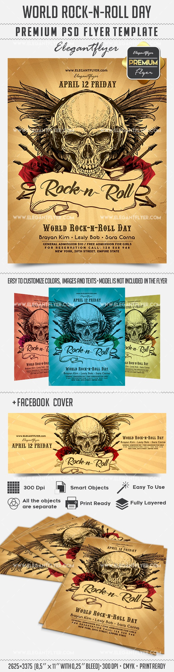 World Rock-n-Roll Day – Flyer PSD Template