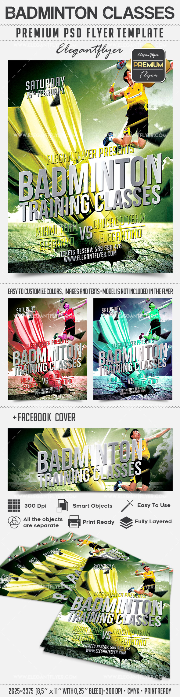 Badminton – Flyer PSD Template + Facebook Cover