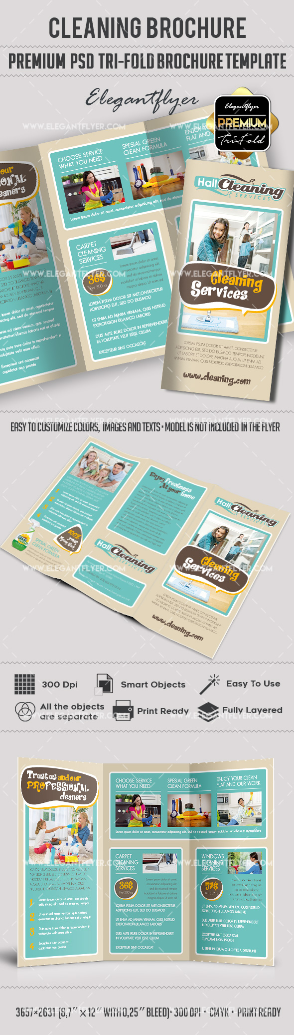 Psd brochure for cleaning services by elegantflyer for Tri fold brochure template psd