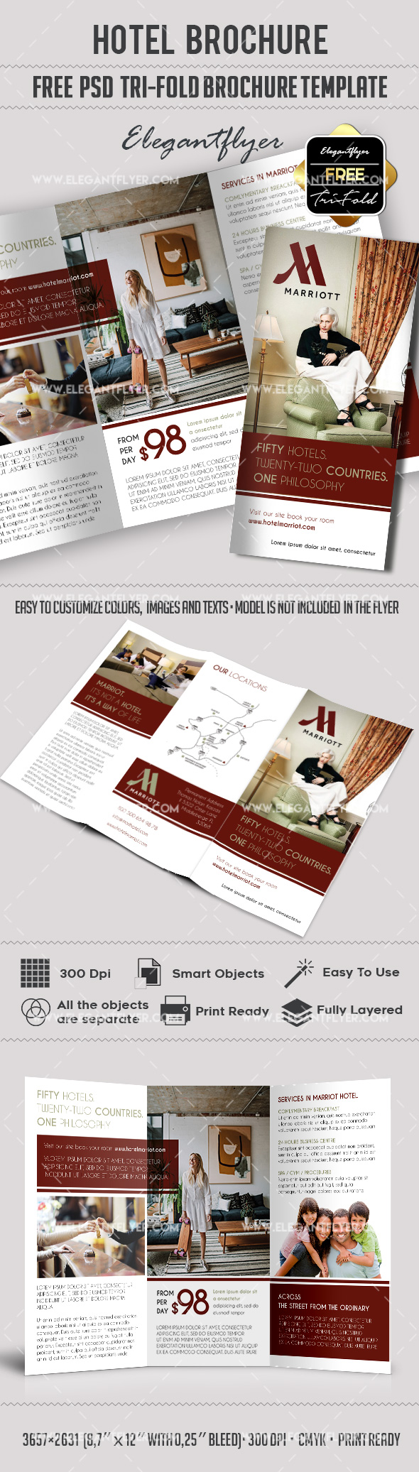 3d brochure templates psd - hotel free psd tri fold psd brochure template by