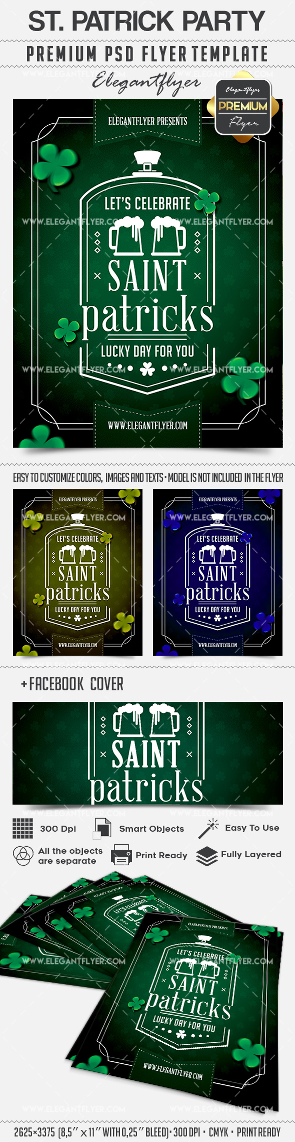 Minimal St. Patricks Party – Flyer PSD Template