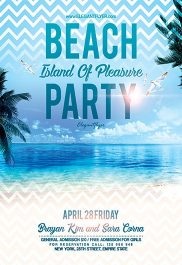 Beach Party Island Of Pleasure – Flyer PSD Template + Facebook Cover