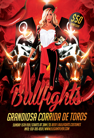 Bullfights – Flyer PSD Template + Facebook Cover