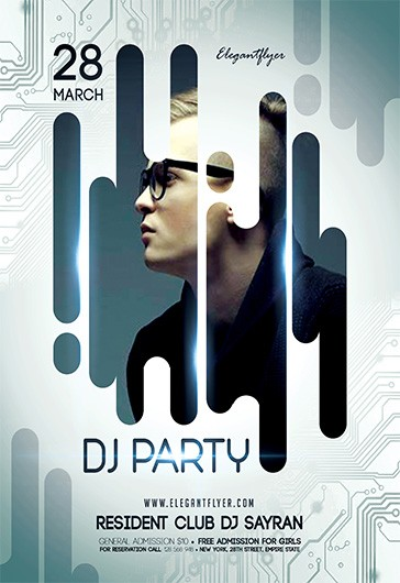 DJ Party – Free Flyer PSD Template