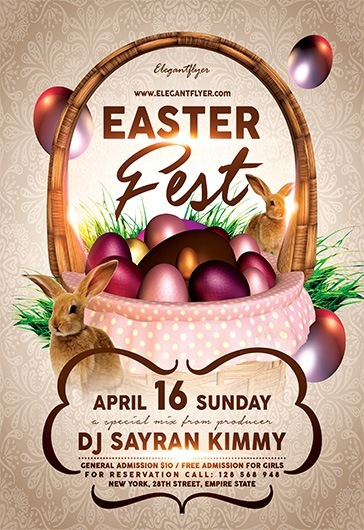 easter fest  u2013 free flyer psd template  u2013 by elegantflyer