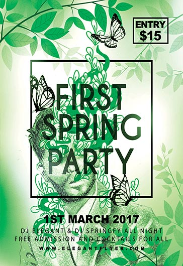 First Spring Party – Flyer PSD Template + Facebook Cover