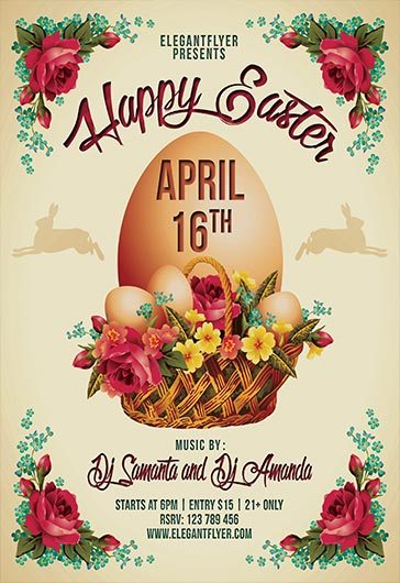 Happy Easter  Flyer Psd Template  Facebook Cover  By Elegantflyer