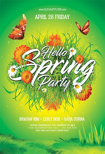 Hello Spring Party – Flyer Psd Template + Facebook Cover – By