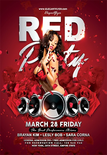 Red Party – Flyer Psd Template + Facebook Cover – By Elegantflyer