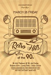 Retro Hits of the 90s – Flyer PSD Template + Facebook Cover