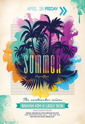 summer party v04 flyer psd template by elegantflyer