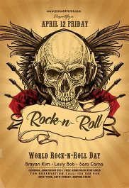 World Rock-n-Roll Day – Flyer PSD Template + Facebook Cover
