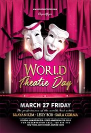 World Theatre Day – Flyer PSD Template + Facebook Cover