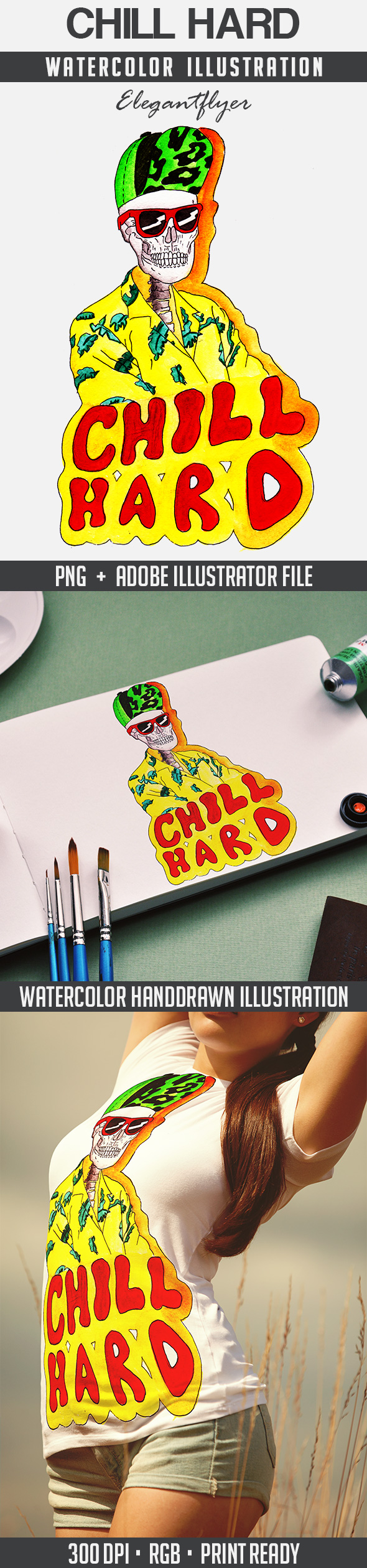 Chill Hard – Premium Stock Illustration