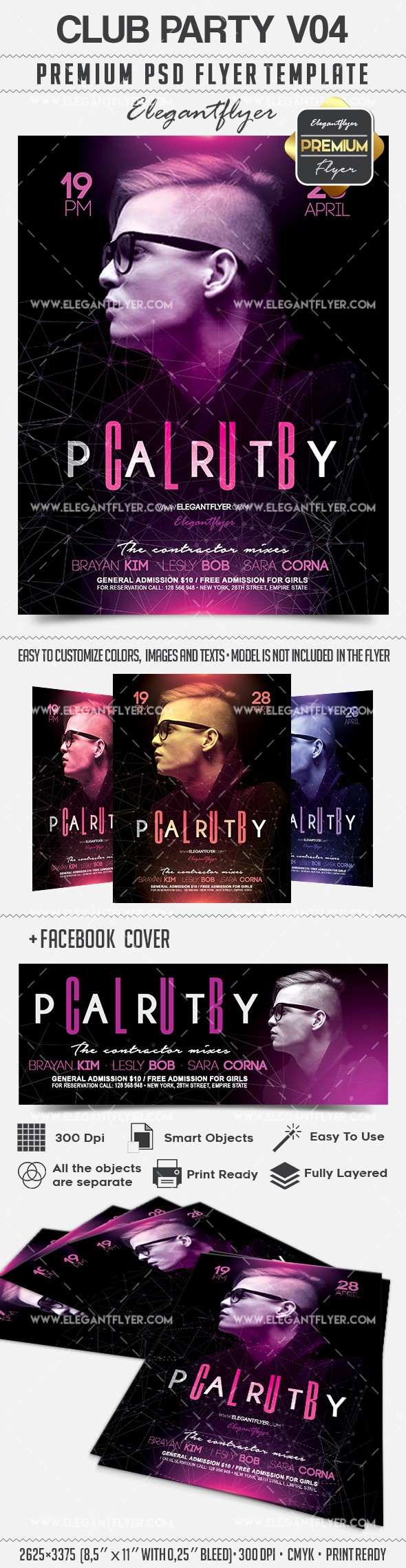 Club Party V04 – Flyer PSD Template + Facebook Cover