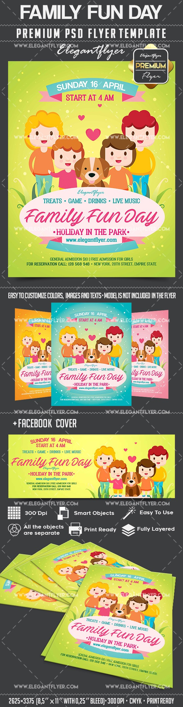 Family fun day flyer psd template by elegantflyer for Fun brochure templates