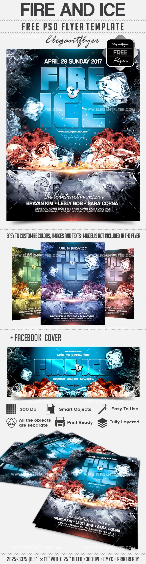 Fire and Ice – Free Flyer PSD Template