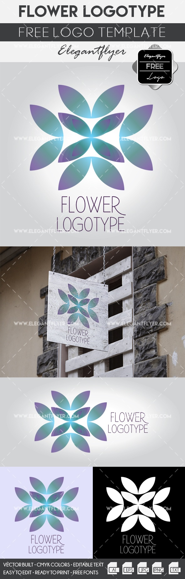 Company With Flower Logo Template