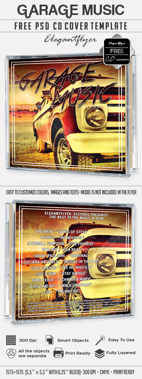 Garage Music – Free CD Cover PSD Template