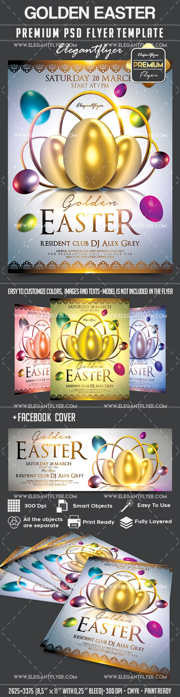 Golden Easter – Flyer PSD Template