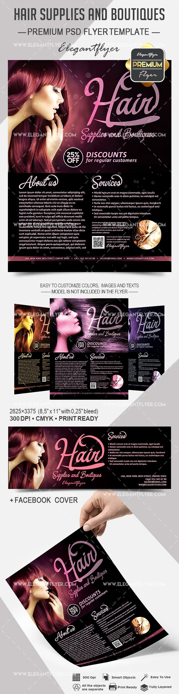 Hair Supplies and Boutiques – Flyer PSD Template