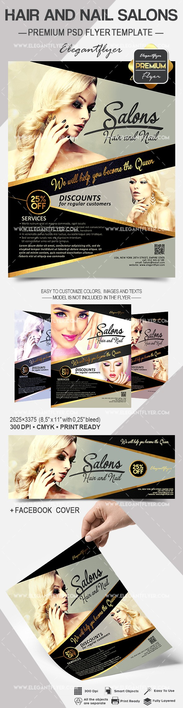 Hair and Nail Salons – Flyer PSD Template