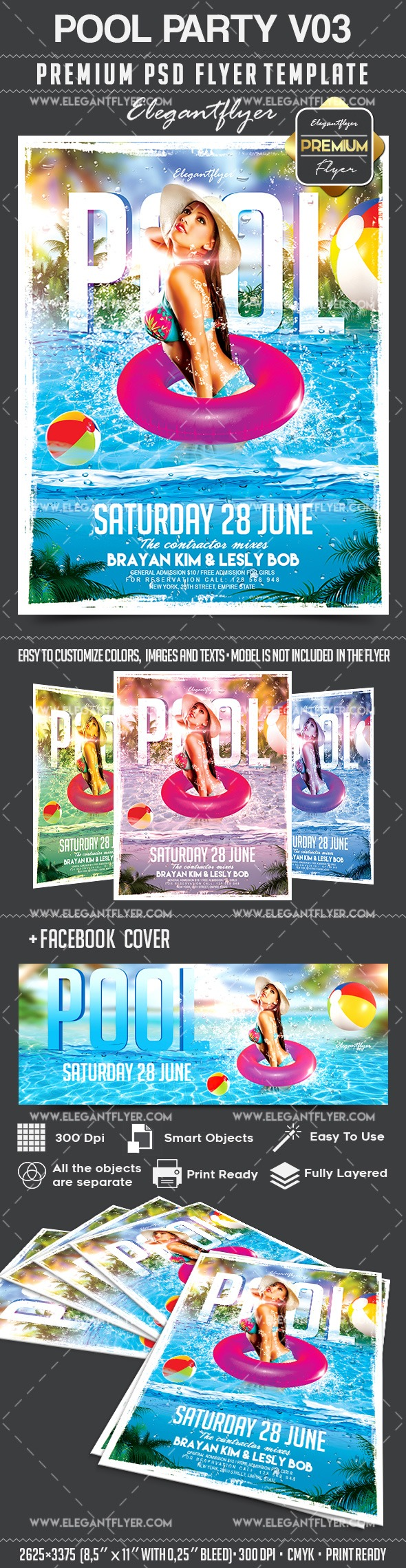 Pool Party V03 – Flyer PSD Template + Facebook Cover