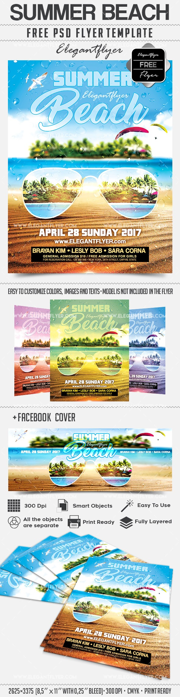 Summer Beach – Free Flyer PSD Template + Facebook Cover