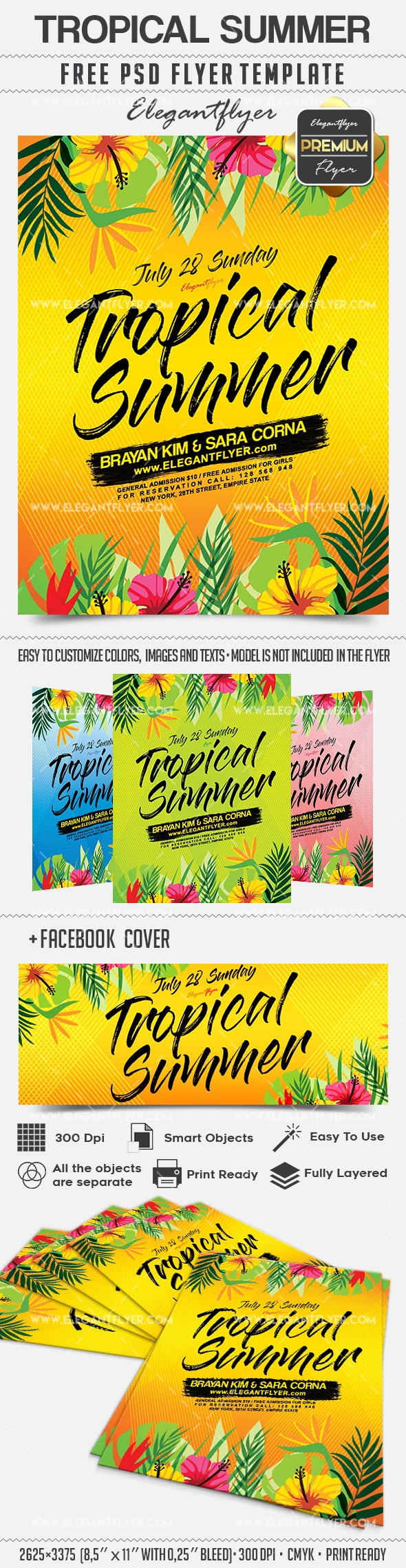Tropical Summer – Flyer PSD Template + Facebook Cover